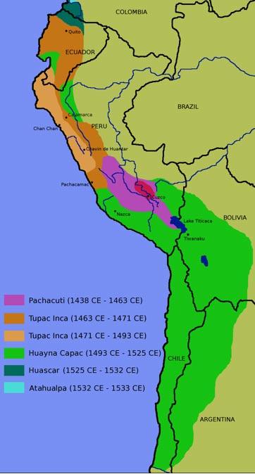 Mapa del Imperio Inca: nótese la gran franja de color verde al sur, región que invadieron los incas a finales del siglo XV. (Public Domain)