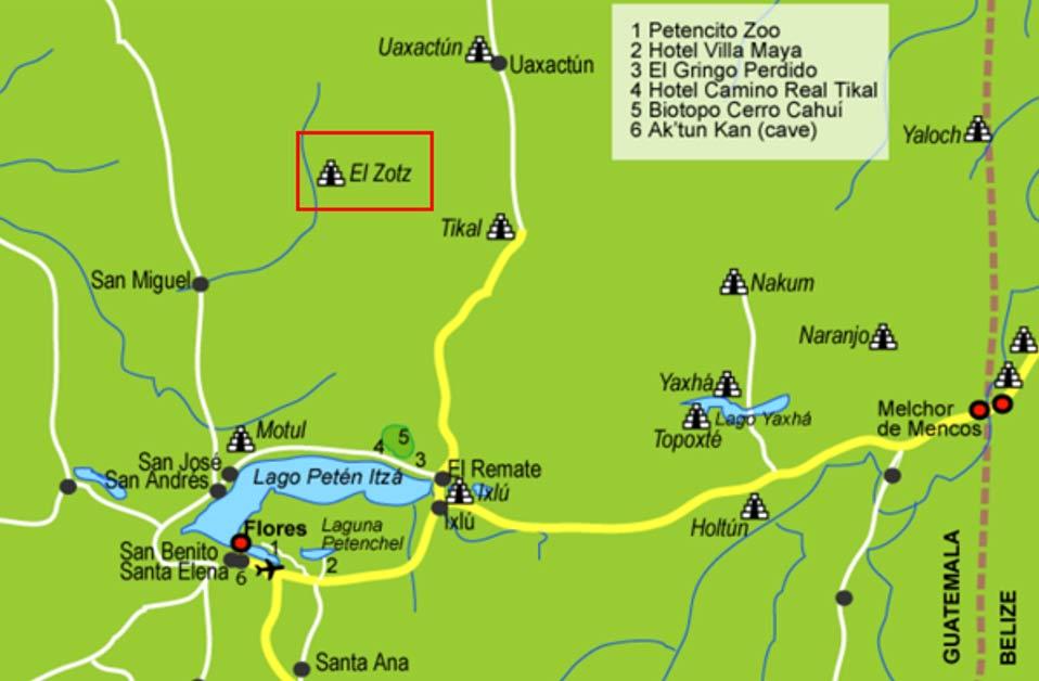 Mapa de la región del lago Petén Itzá en el que se observa la ubicación de El Zotz al norte, cercana a la famosa ciudad de Tikal (Public Domain)