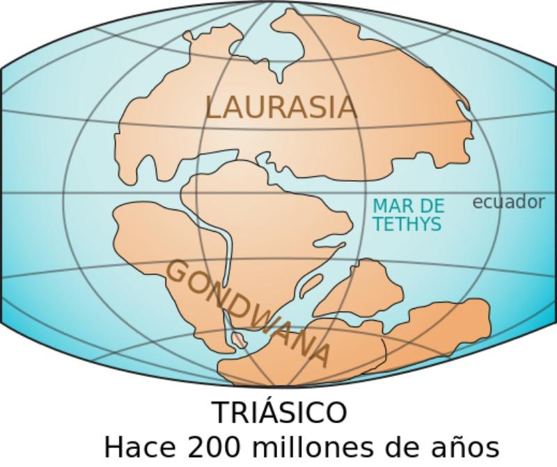 Situación de los supercontinentes de Laurasia y Gondwana hace 200 millones de años. (LennyWikidata/CC BY-SA 3.0)