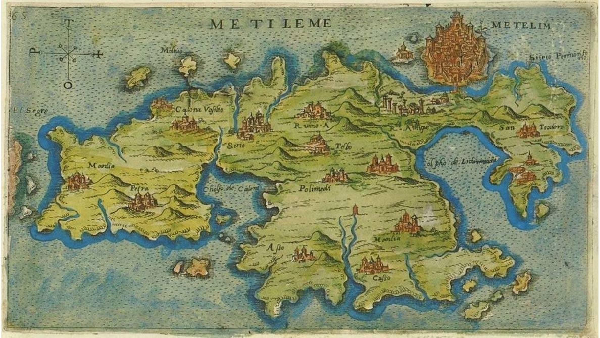Mapa de Lesbos de Giacomo Franco (1597). Dominio Público
