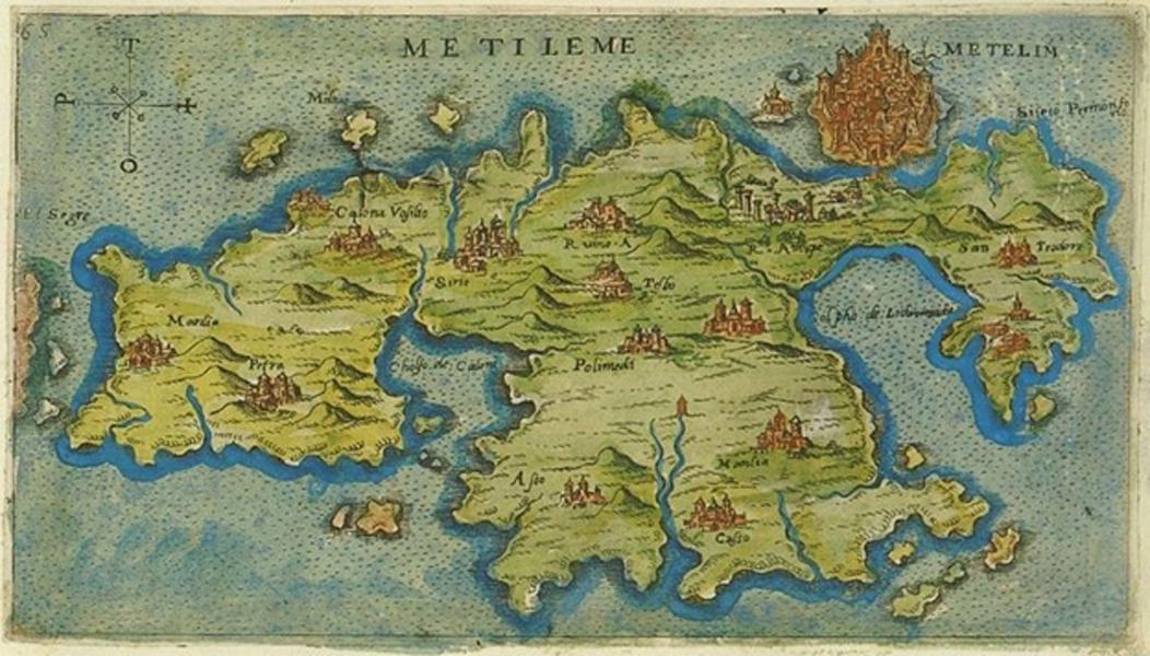 Mapa de Lesbos (Mitilene) confeccionado en 1597. Esta isla fue el lugar de nacimiento de Barbarroja. (CC BY 3.0)