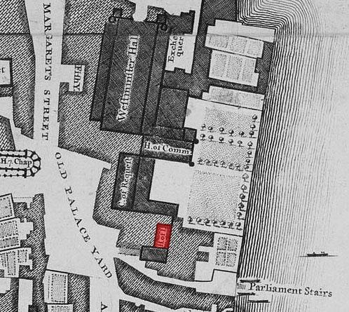 Mapa de Londres de John Rocque (1746), en el que podemos ver la Cámara de los Lores en rojo. Su antiguo emplazamiento está ocupado en la actualidad por el Palacio de Westminster (Public Domain)