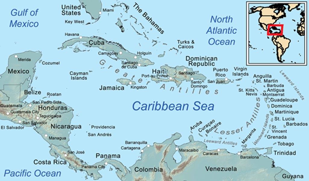 Mapa del Mar Caribe (Wikimedia Commons)