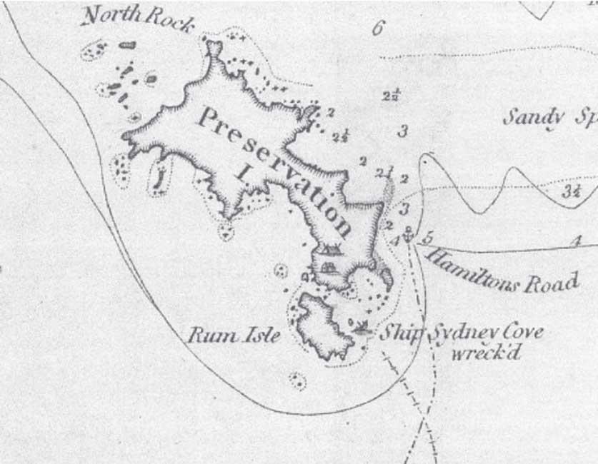 Mapa de Matthew Flinders realizado en 1798 en el que se observan Preservation Island y el punto de la costa en el que naufragó el Sydney Cove. (Mitchell Library, State Library of NSW)