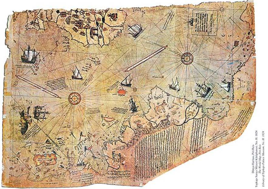 El mapamundi realizado por el almirante otomano Piri Reis en el año 1513. (Public Domain)