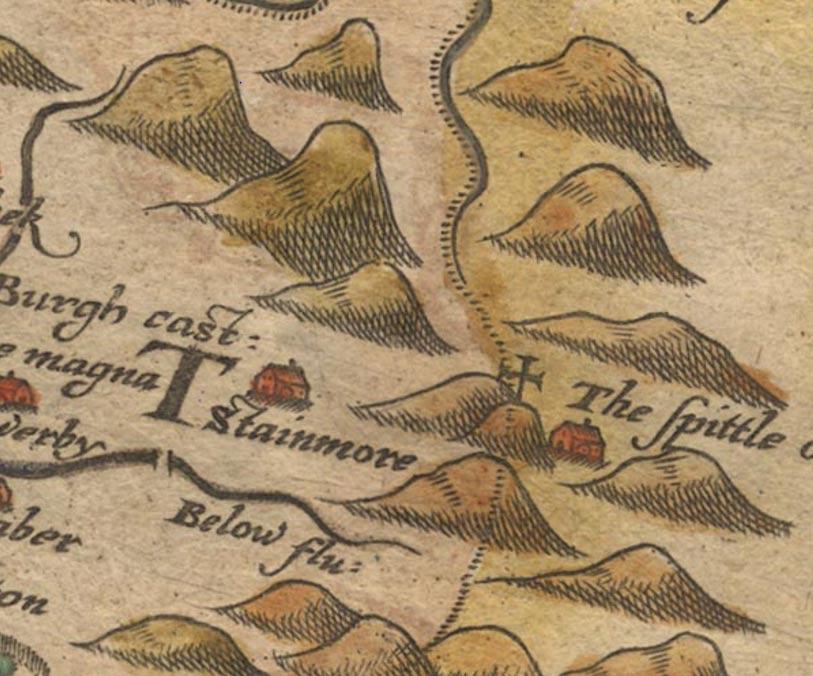 """Mapa en el que aparece la posada de """"The Spittle"""" (conocida más tarde como Spital) en Stainmore (1579) (Universidad de Portsmouth)"""