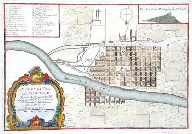 Mapa de Santiago de Chile realizado en 1712 (Public Domain)