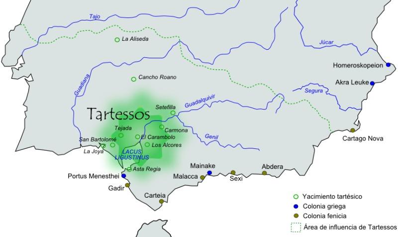 Área aproximada de extensión e influencia de la civilización de Tartessos. (Té y kriptonita/GNU Free)