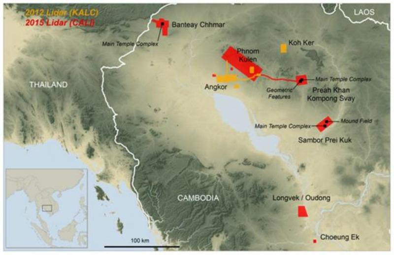 Mapa de localización de las nuevas ciudades descubiertas bajo las selvas de Camboya. (Fotografía: Ancient-Origins.net/ Damian Evans / Cambodian Archaeological Lidar Initiative)