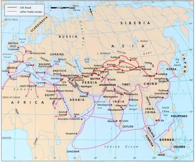 Mapa de antiguas rutas comerciales