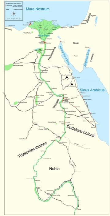Mapa de las antiguas regiones de Egipto y Nubia (Napata) en las que combatió Cayo Petronio. (CC BY-SA 4.0)