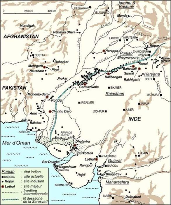 Localización geográfica de antiguos asentamientos de la cultura del valle del Indo. (Nataraja/Wikimedia)