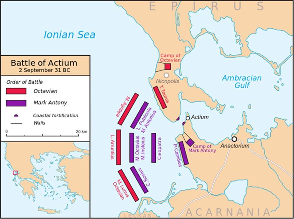 Mapa de la batalla de Actium. (Future Perfect at Sunrise/CC BY SA 3.0)