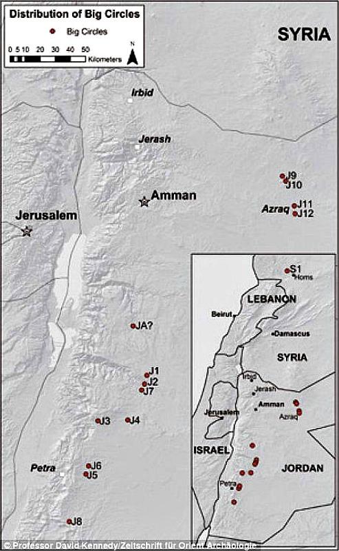 Mapa mostrando la ubicación de cada uno de los 12 Grandes Círculos de Jordania registrados hasta ahora, además de otro gran círculo descubierto en Siria. (Imagen: Código Oculto).