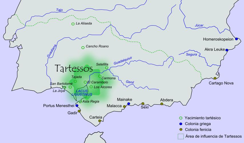 Mapa del sur de la península ibérica con la localización geográfica aproximada de la civilización tartésica (CC BY-SA 3.0)