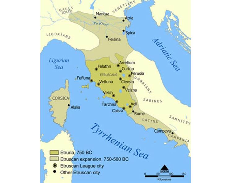 Mapa que muestra la extensión de Etruria y la expansión de la civilización etrusca. El mapa incluye las 12 ciudades de la Liga Etrusca y otras ciudades importantes fundadas por los etruscos. Imagen: Wikipedia