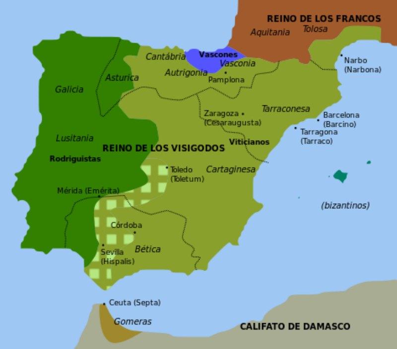 Mapa de la Península Ibérica en torno a los años 711-714. (Public Domain)