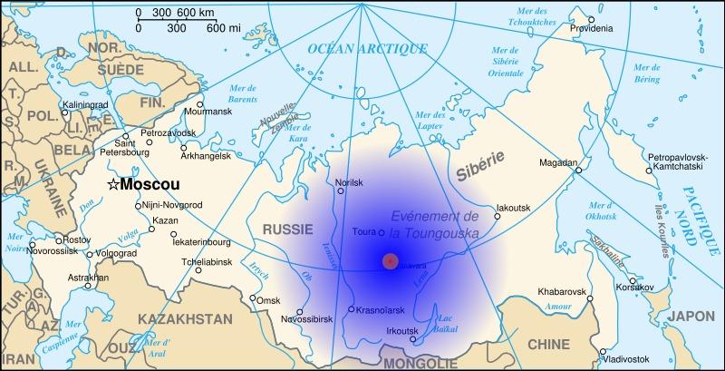 Localización y áreas del impacto del meteorito de Tunguska. Zona 1 (20 km): bosque destruido (rojo). Zona 2 (100 km): múltiples daños por fuego y animales muertos (naranja). Zona 3 (1500 km): eco y sonido de la explosión (difuminado azul). (Denys/GNU Free)