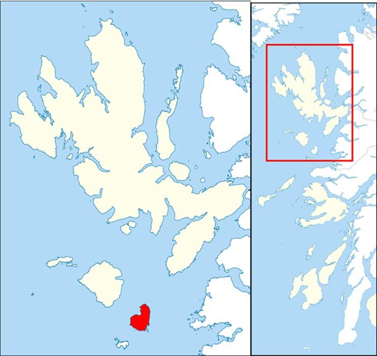 Mapa con la localización geográfica de la isla de Eigg (en rojo), muy cercana a Skye (la isla de mayor tamaño al norte) y al resto de las islas Small (Wikimedia Commons/Hogweard)