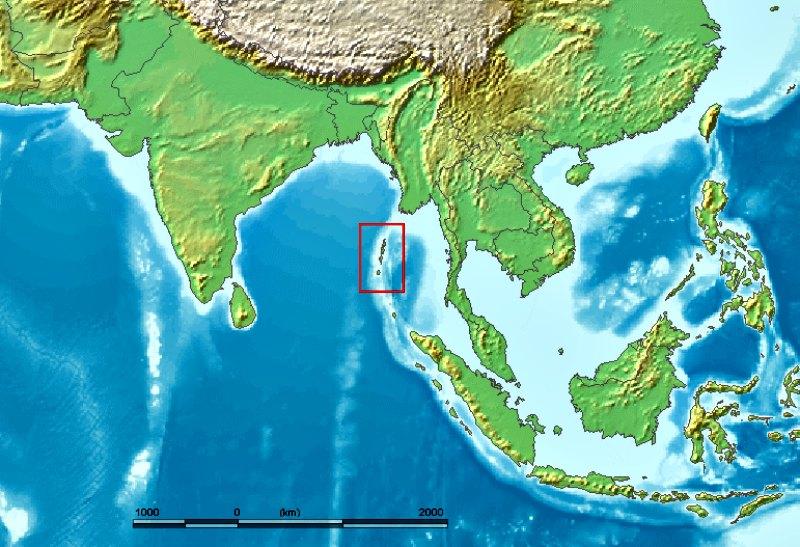 Localización geográfica de las islas Andamán en el golfo de Bengala. (Public Domain)