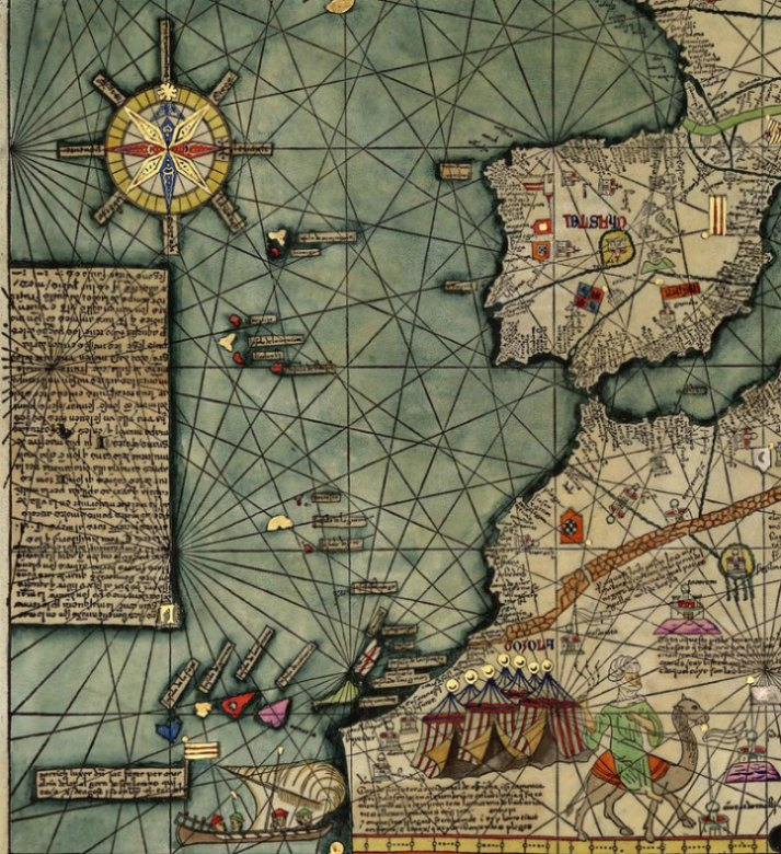 Mapa de las islas occidentales. Atlas Catalán de Abraham Cresques, 1375. (Public Domain)