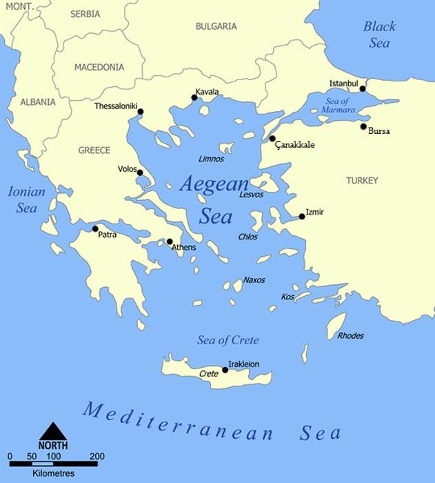 Mapa del mar Egeo (CC BY-SA 3.0)