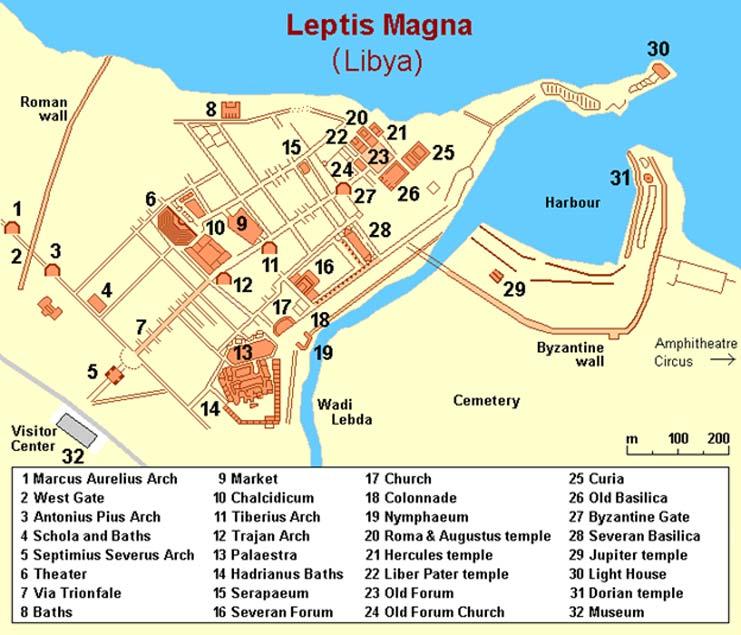 Este mapa nos muestra muchos de los importantes monumentos de Leptis Magna, antigua ciudad romana de la actual Libia que está siendo protegida por ciudadanos libios armados con fusiles Kalashnikov. (Wikimedia Commons/Mapa: Holger Behr)
