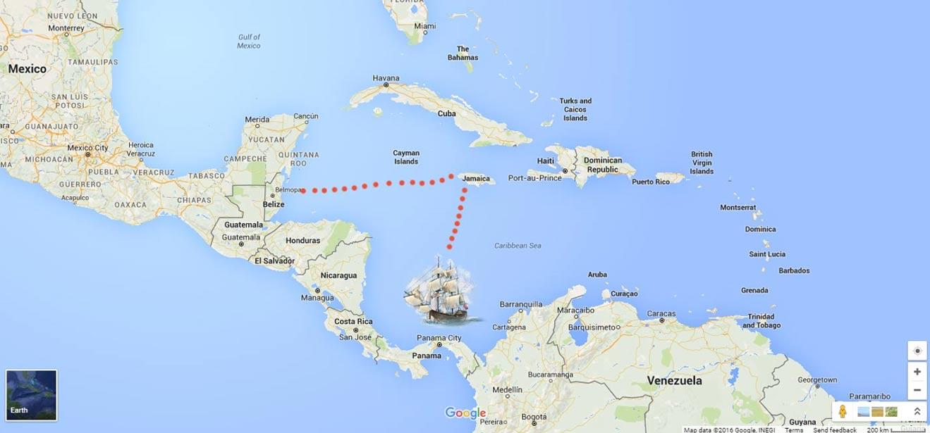 Mapa de Google Earth con el posible itinerario y lugar de naufragio del barco en el que viajaba Gonzalo Guerrero
