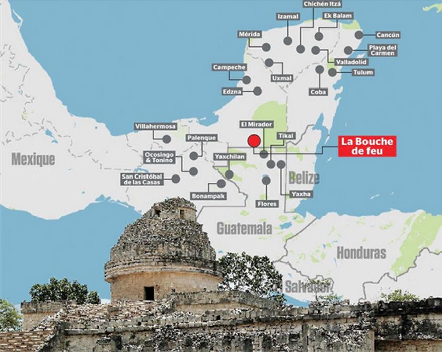 Ubicación geográfica de la ciudad maya descubierta por William Gadoury, K'àak' Chi' (La Boca de Fuego). (Le Journal de Montréal)