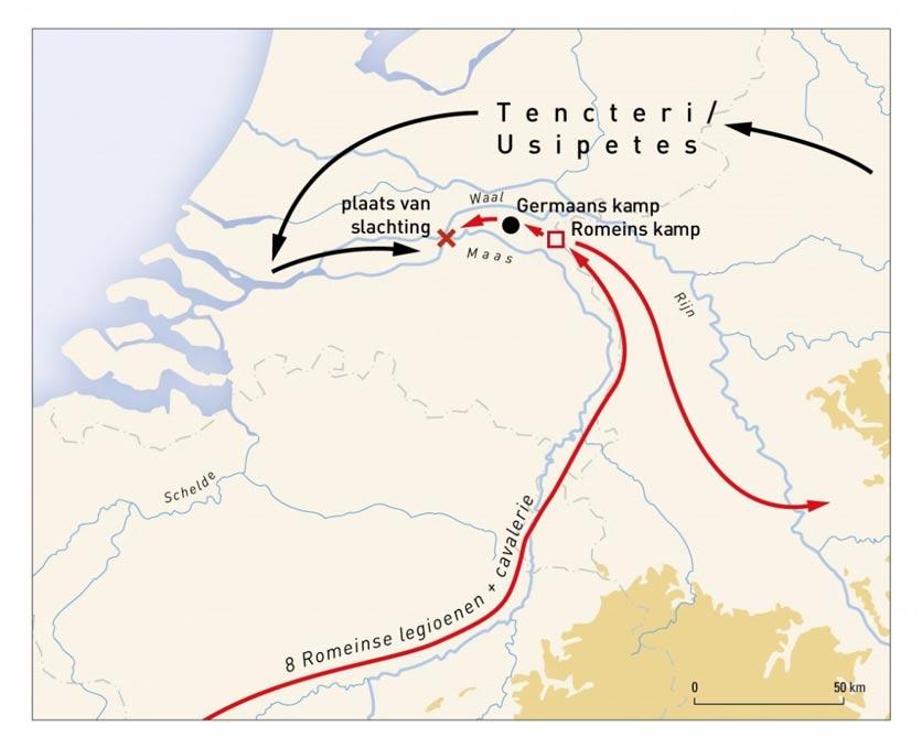 Mapa de la región: en rojo y negro, los movimientos y emplazamientos en los que acamparon los romanos y las tribus de los Tencteros y Usipetes. Imagen: Universidad Libre de Amsterdam