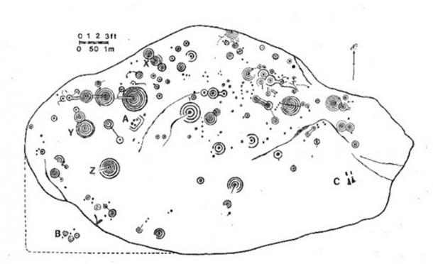 Mapa de los petroglifos grabados sobre la superficie de la Piedra de Cochno. Imagen: The Modern Antiquarian
