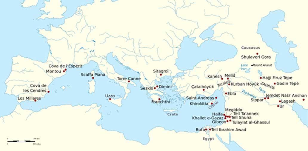 Yacimientos arqueológicos del Neolítico, la Edad del Cobre y principios de la Edad del Bronce en los que se han encontrado vestigios de elaboración de vino y cultivo de la aceituna. (CC BY-SA 3.0)