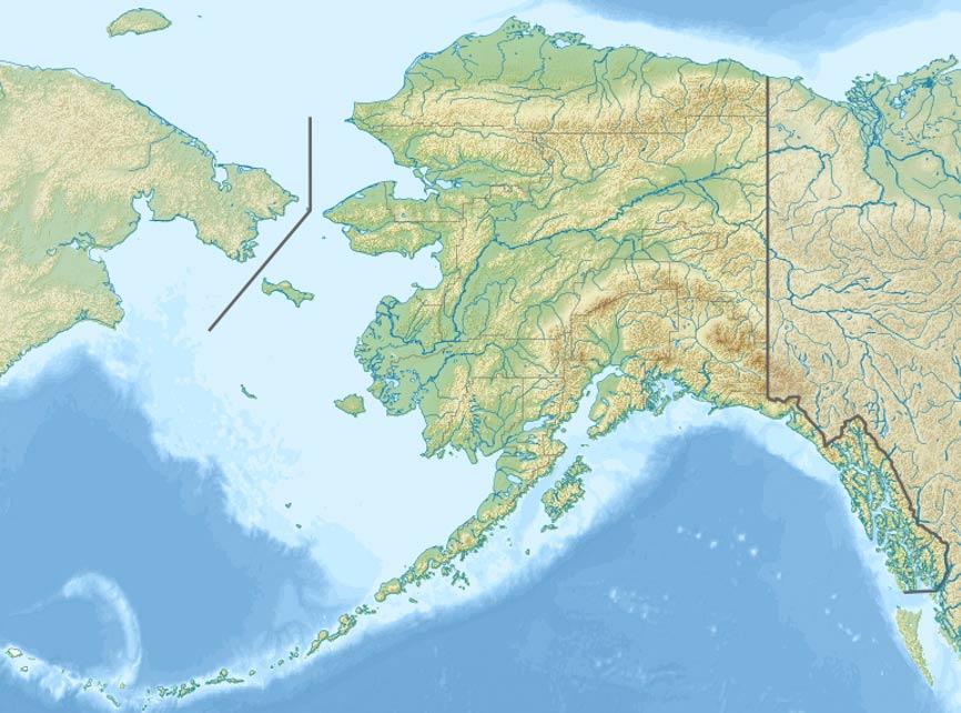 Mapa en el que se observa la localización de la Reserva Nacional del Puente de Tierra de Bering (Public Domain)