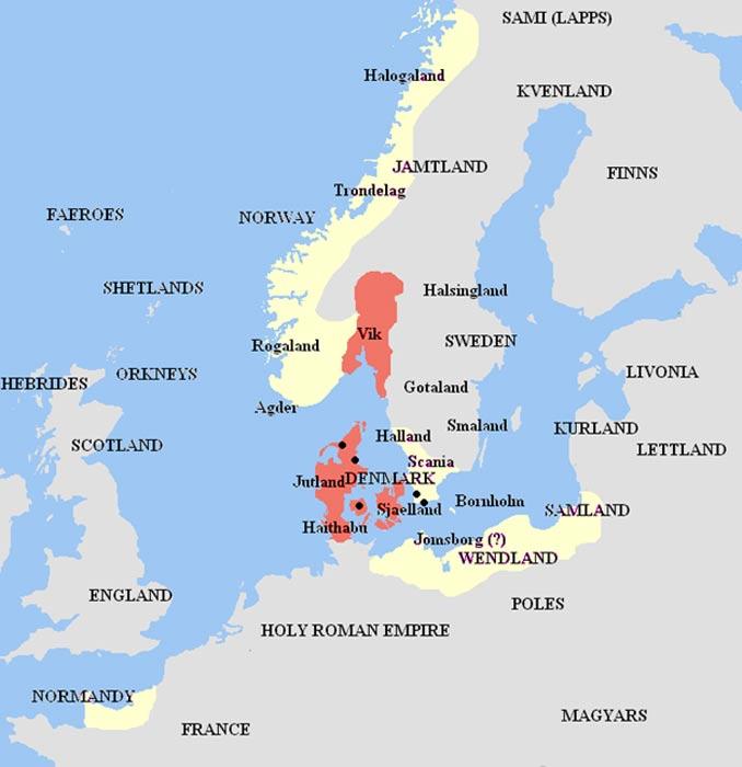 El reino de Harald en color rojo, sus aliados y vasallos en amarillo, mapa basado en fuentes escandinavias medievales (Wikimedia Commons/Bryangotts)