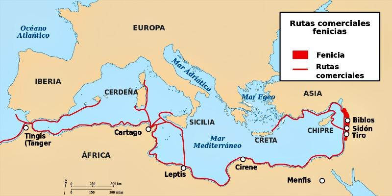 Principales rutas comerciales fenicio-púnicas. (DooFi/CC BY-SA 3.0)