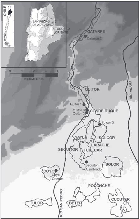 Yacimientos de origen de las momias analizadas en el reciente estudio. (López Barrales et al)