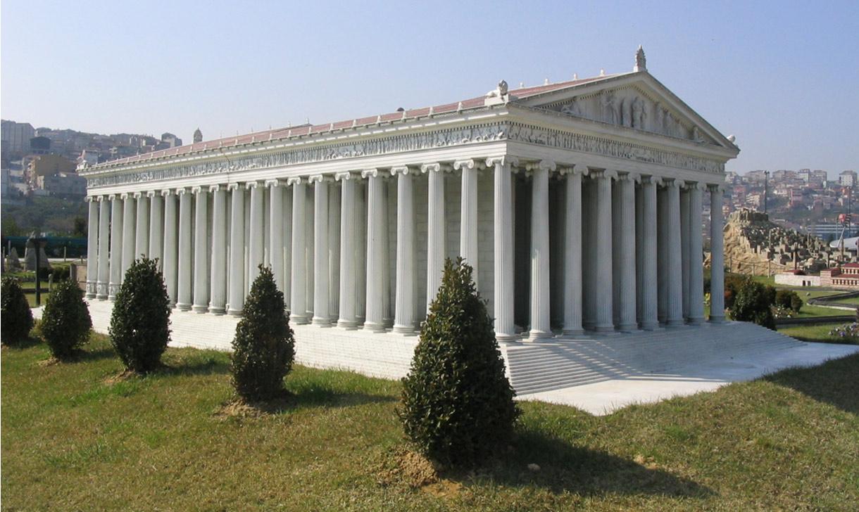 Esta maqueta del Templo de Artemisa, del Miniatürk Park de Estambul, en Turquía, intenta recrear la posible apariencia del primer templo. (Wikimedia Commons)