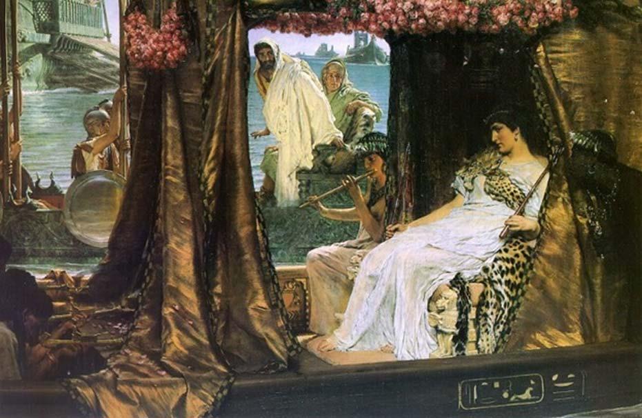 'El encuentro de Antonio y Cleopatra', óleo de Lawrence Alma Tadema (Dominio público)