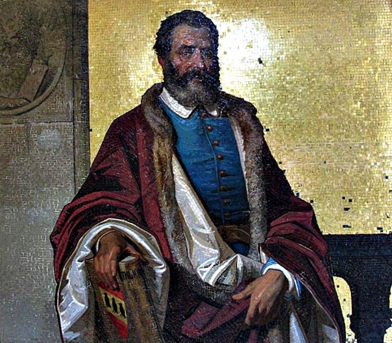 Mosaico que representa a Marco Polo y se encuentra en la Villa Orengo de los Jardines Botánicos Hanbury de Ventimiglia, Italia. (Public Domain)