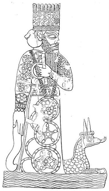 Marduk con su dragón Mušḫuššu, decoración de un sello cilíndrico babilónico. (Dominio público)