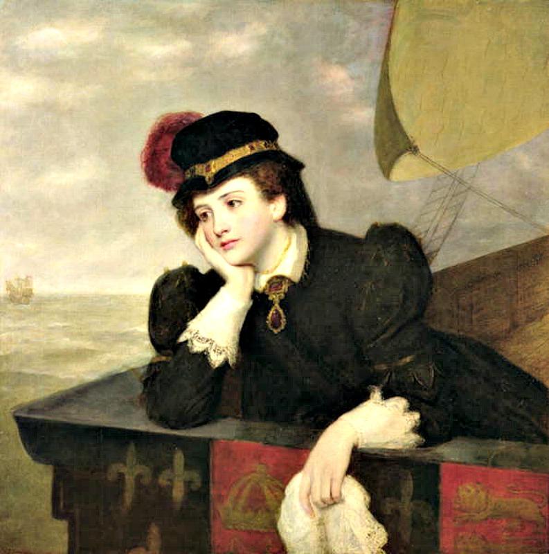 """""""María, reina de Escocia, regresando desde Francia en 1561"""" (1909), óleo de William Powell Frith (1819-1909). (Public Domain)"""