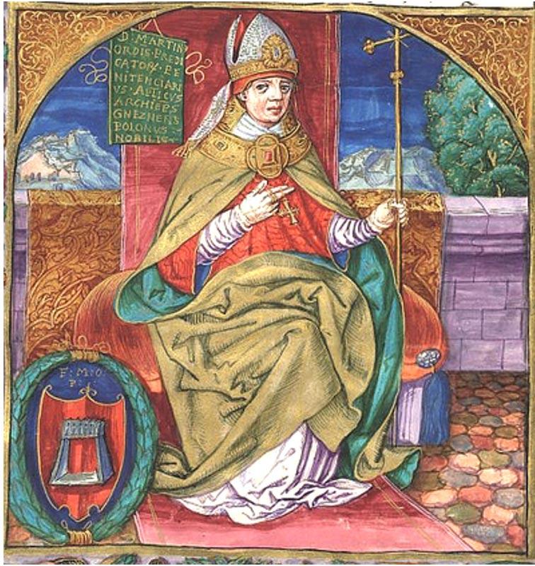 Martinus Polonus, el fraile Dominico que escribió un vívido relato de la vida de la Papisa Juana, aunque reveló muy poco acerca de sus fuentes. Aquí se le representa como Arzobispo de Gniezno. Manuscrito ilustrado anterior a 1535 (en.wikipedia.org)
