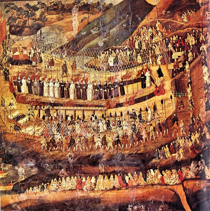 Mártires cristianos en Nagasaki. Pintura japonesa del siglo XVII. (Public Domain)