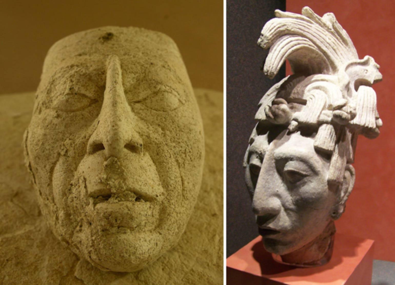 En el examen la máscara ha sido identificada como probable representación de Pakal el grande. Izquierda, la máscara recientemente descubierta (Imagen: Héctor Montaño, INAH); Derecha, cabeza de estuco de K'inich Janaab Pakal I (603-683 d. C.), rey de Palenque, expuesta en el Museo Nacional de Antropología de Ciudad de México (CC BY-SA 2.0)
