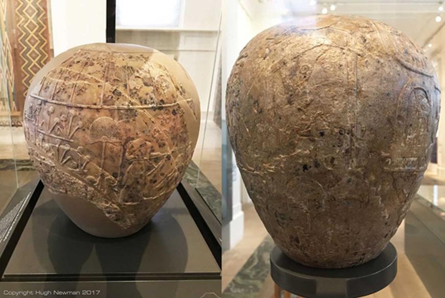 Mazas de piedra caliza, versiones gigantescas de las pequeñas armas de piedra que eran ajuar funerario típico durante el Período predinástico. Se convirtieron en símbolos de la élite egipcia en torno al 3100 a. C. Fotos de Hugh Newman.