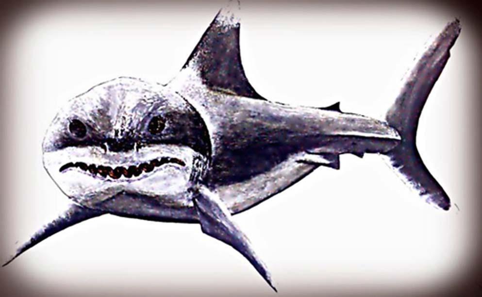 El megalodón dominaba hace milenios los mares primordiales del sur de Europa con aleta de hierro. (Legendz Collective)