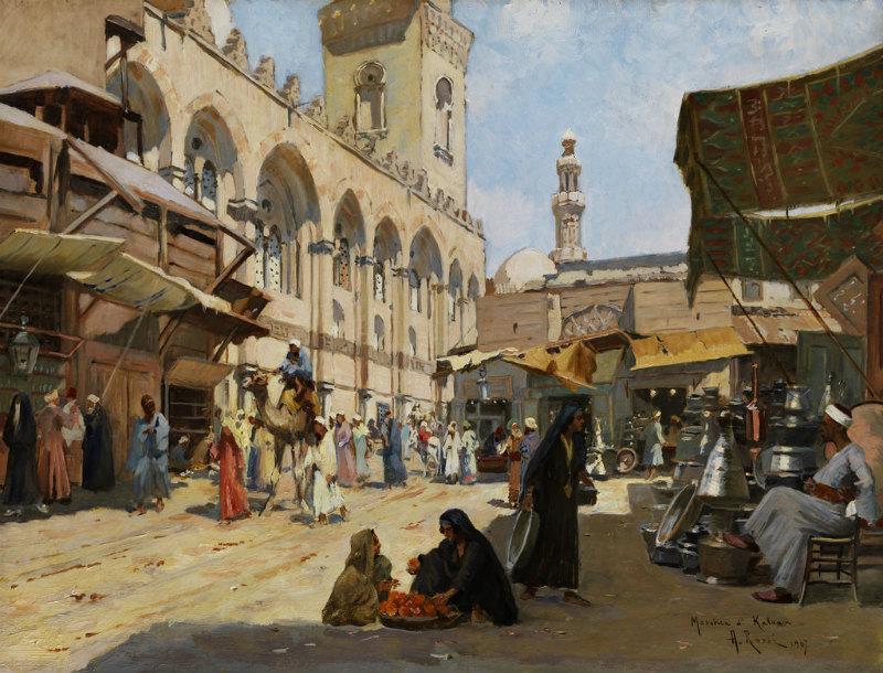 Mercado árabe en la Mezquita de Qalawun, El Cairo (1907). Óleo de Alberto Rossi (Flickr)