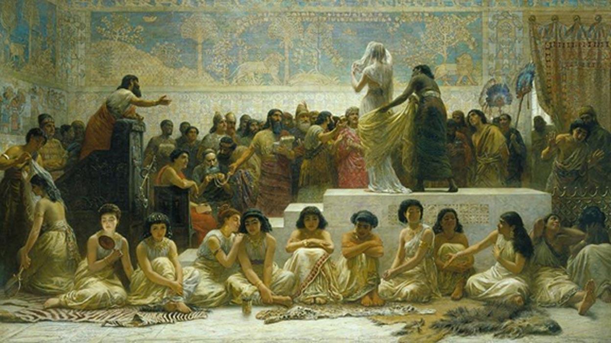 'El mercado de mujeres de Babilonia', óleo de Edward Long. (Public Domain)