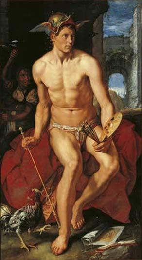 Hendrik Goltzius, Mercurio, óleo sobre lienzo (1611). (Dominio público)