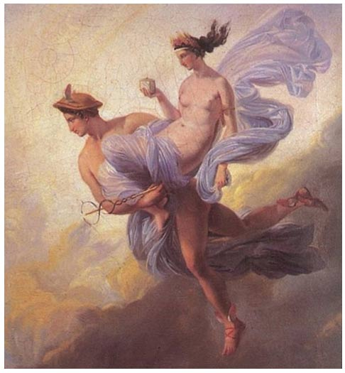 Hermes / Mercurio raptando a Pandora por Jean Alaux